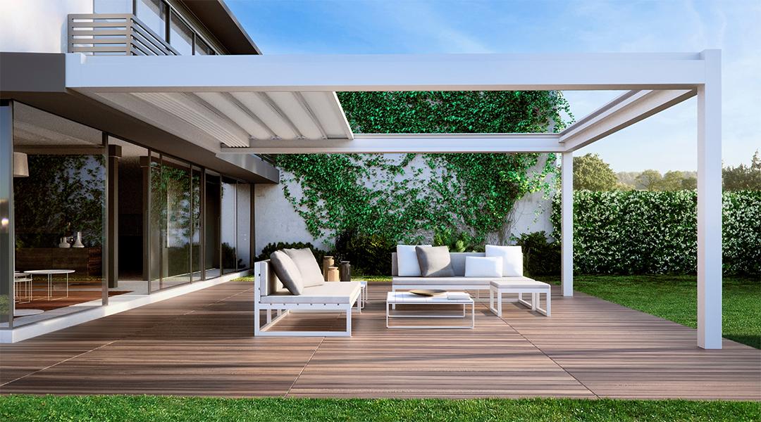 Nomo retractable outdoor living area roof