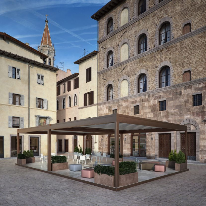 Al fresco dining space in Italian town with aluminium louvre roof
