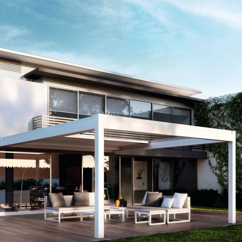luxury home with retractable patio roof with adjustable aluminium louvre for a modern garden shading solution