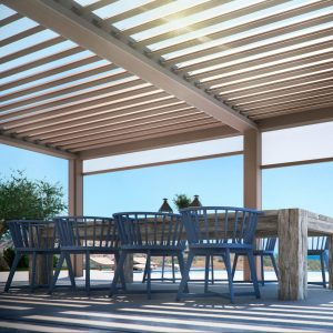 al freco dining area with an aluminium louvre roof, outdoor blinds and stunning coastal views
