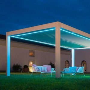 freestanding aluminium louvre roof in a luxury garden for a modern outdoor seating area