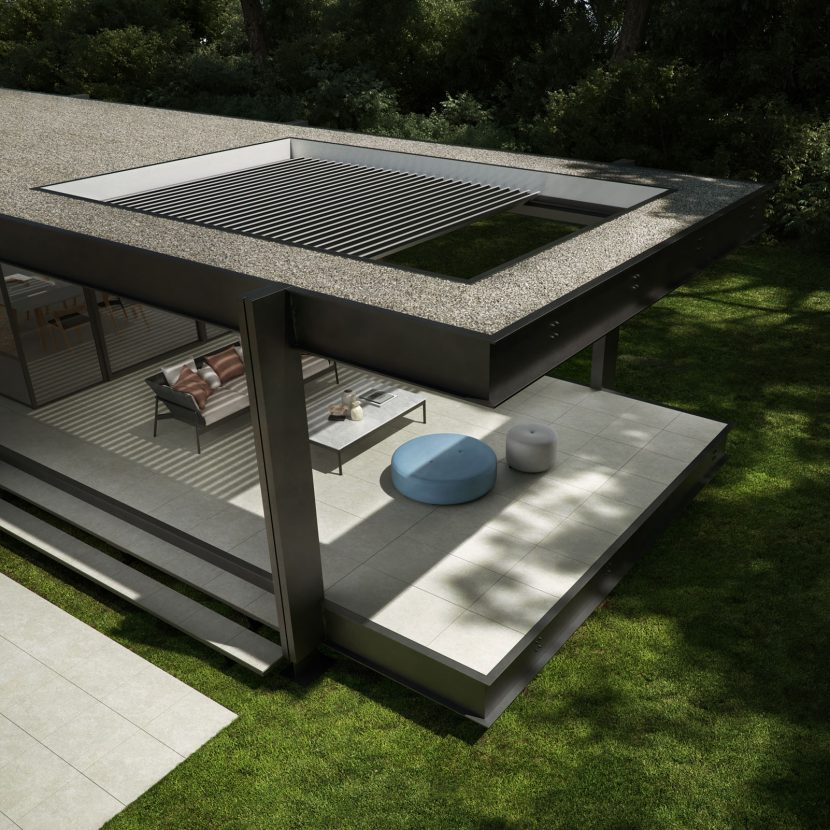 contemporary outdoor seating area with retractable outdoor roof