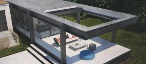IQ retractable Louvre roof open to allow natural light to flow down to the modern outdoor seating area