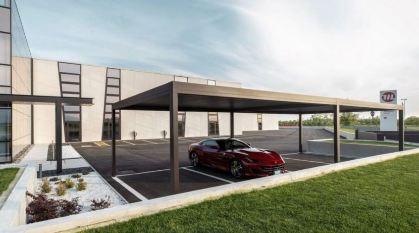 commercial car park with carports created using IQ Louvre Roofs