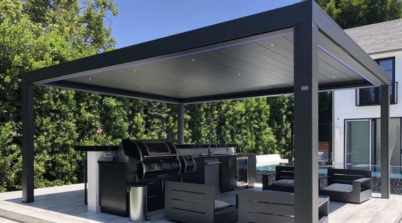 freestanding aluminium louvre roof over an outdoor kitchen