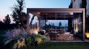 outdoor living pod with glass walls for weather protection and clear views