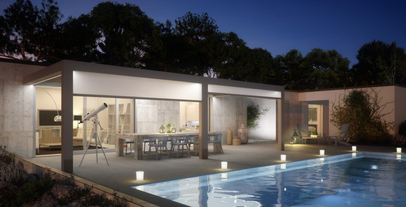 poolside residential outdoor dining space with a patio roof