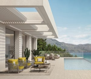 poolside seating spaces for relaxing covered by retractable outdoor roofs