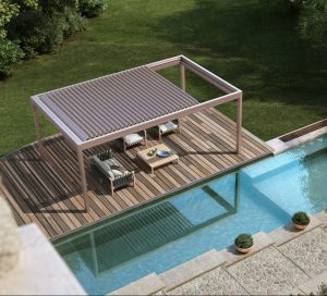 residential poolside relaxation space with freestanding louvre roof