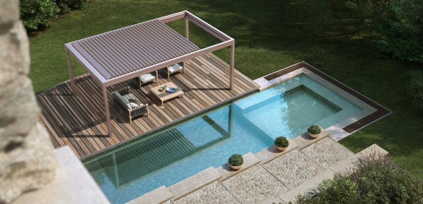 Birdseye view of a pool with Retracting Awning