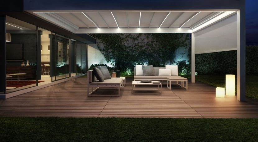 LED strip light retractable awning above a seating area