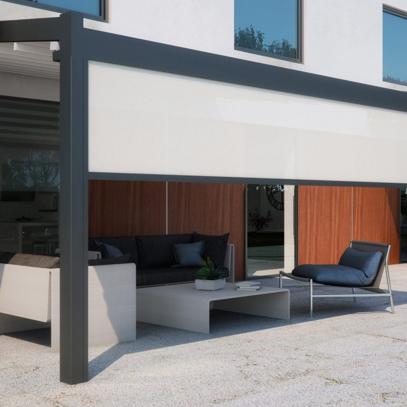 White Terrace project with a retractable awning roof and retractable blinds to create a modern outdoor seating area