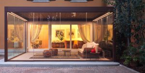 Outdoor living pod with glass walls