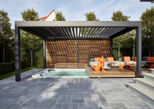 sunken hot tub and seating area with camargue roof