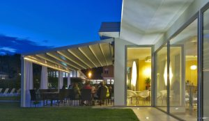 Patio awning over a dining area