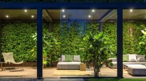 Living Pod with shrubbery and glass walls