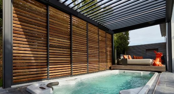 IQ Hot Tub Enclosure with both horizontal and vertical louvres so the hot tub can be used in any weather