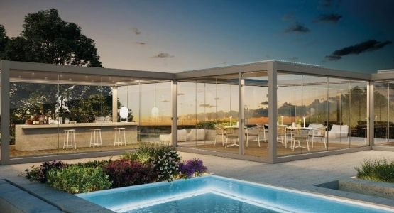 freestanding IQ Outdoor Living Pods used for an outdoor bar and alfresco dining area